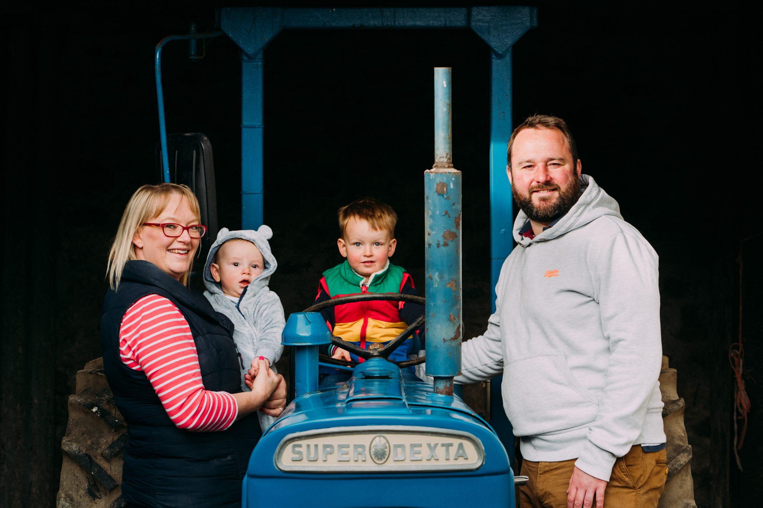 Vintage Tractor with family